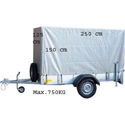 Aanhangwagen 250 x 125 x 150H